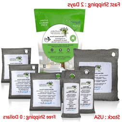 6 Pack Air Purifying Bags 100% Activated Bamboo Charcoal Odo