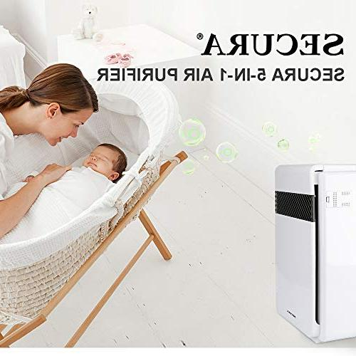 Secura Purifier Cleaner, m³/ Home Air Quality Allergen Air Cleaner for Rooms, of Dust Smoke