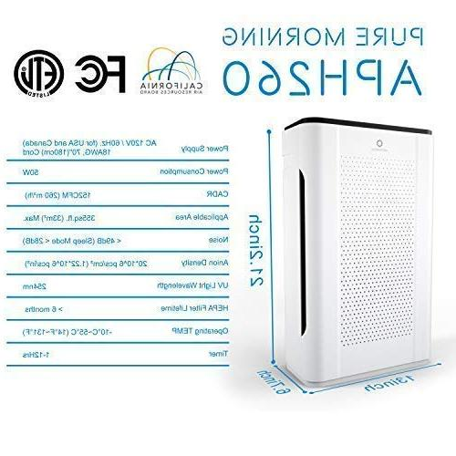 Airthereal Morning Purifier 7-in-1 HEPA Filter Air Rooms, Smoke and ETL 355 sf, White