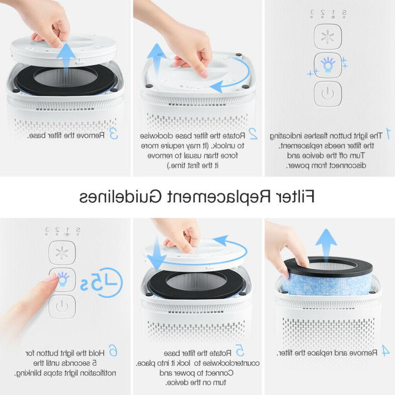 Air Purifier HEPA Filter Portable Air with 3 Dust