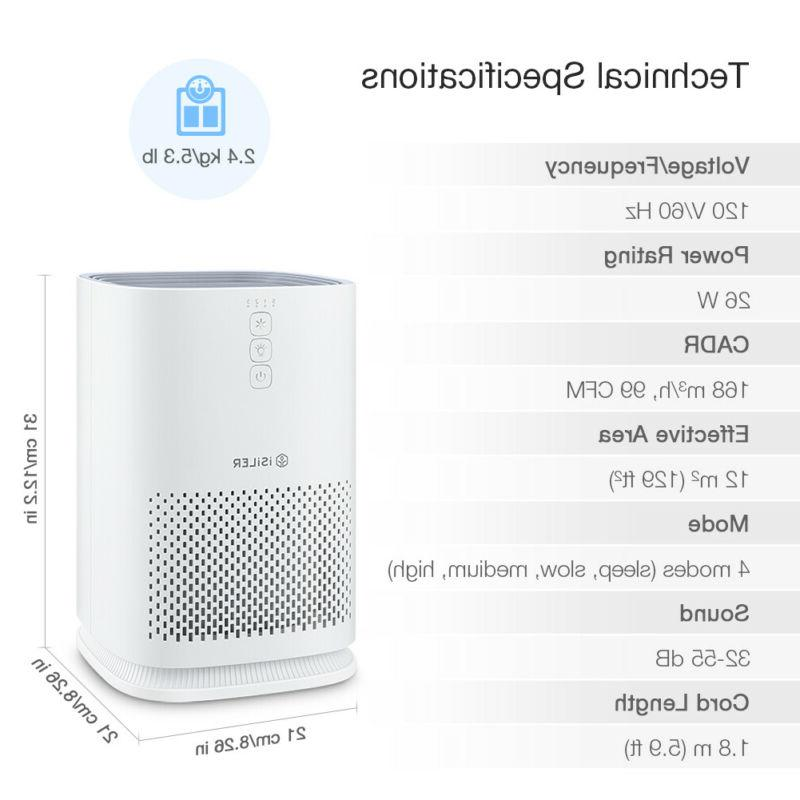 Air Purifier Filter Portable Air with 3 Dust Smoke