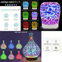 3D Glass Firework Colorful LED Aromatherapy Essential Oil Di